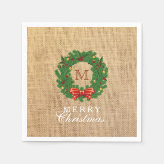 Christmas Wreath Monogram Burlap Background Napkin
