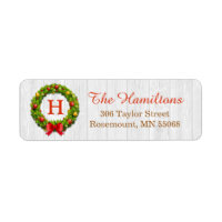 Christmas Wreath Monogram Family Holiday Blessing Label