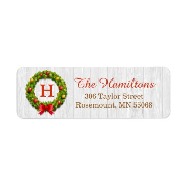 Christmas Themed Christmas Wreath Monogram Family Holiday Blessing Label