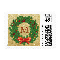 Christmas Wreath Monogram Gold Glitter Holiday Postage