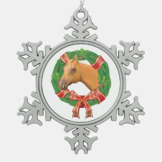 Christmas Wreath n Horse Pewter Snowflake Ornament