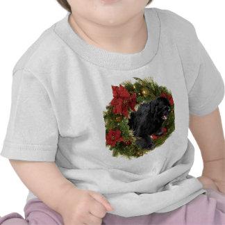 Christmas Wreath Newf Black Tshirt