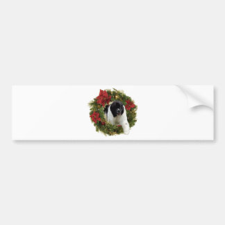 Christmas Wreath Newf Landseer Bumper Sticker