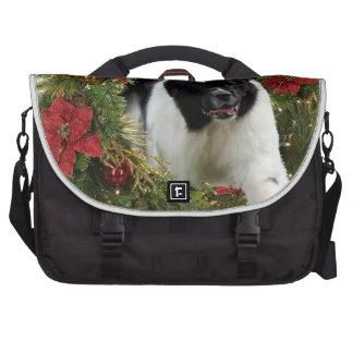 Christmas Wreath Newf Landseer Laptop Commuter Bag