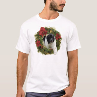 Christmas Wreath Newf Landseer T-Shirt