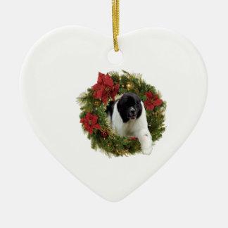 Christmas Wreath Newfoundland Dog Wrapping Paper Ceramic Ornament