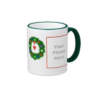 Christmas Wreath of Hearts 2-Photo Frame Ringer Mug