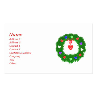 Christmas Wreath of Hearts - Business Business Card Templates