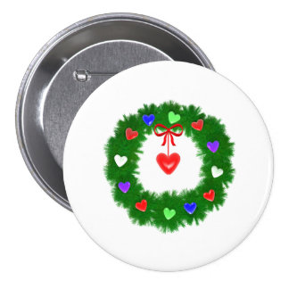 Christmas Wreath of Hearts 3 Inch Round Button