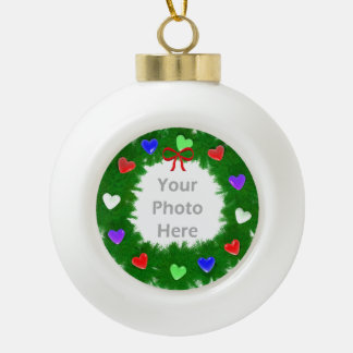 Christmas Wreath of Hearts Ceramic Ball Christmas Ornament