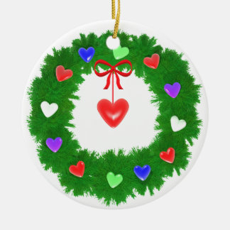 Christmas Wreath of Hearts Ceramic Ornament