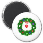Christmas Wreath of Hearts Fridge Magnets