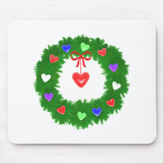 Christmas Wreath of Hearts Mouse Pad