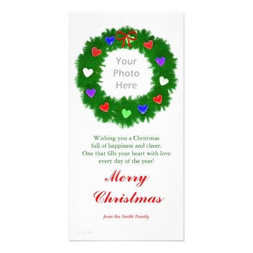 Christmas Wreath of Hearts Photo Card Template