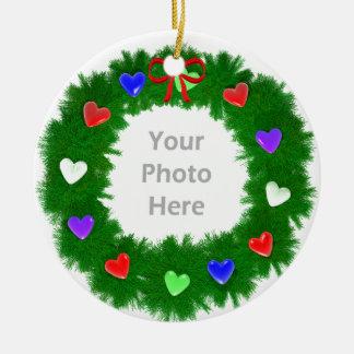 Christmas Wreath of Hearts (photo frame) Ceramic Ornament