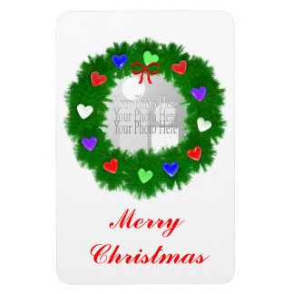 Christmas Wreath of Hearts (photo frame) Magnet