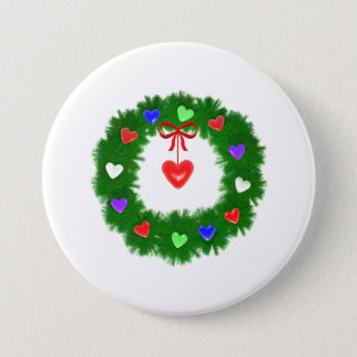 Christmas Wreath of Hearts Pinback Button