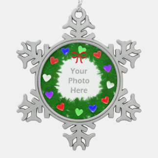 Christmas Wreath of Hearts Snowflake Pewter Christmas Ornament