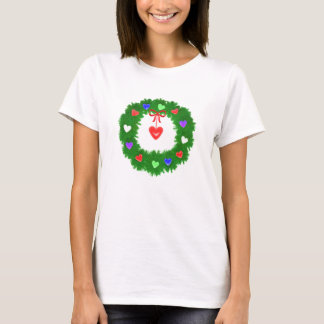 Christmas Wreath of Hearts T-Shirt