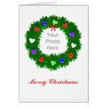 Christmas Wreath of Hearts Tall (photo frame) Cards