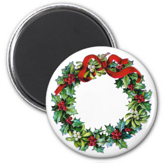 Christmas Wreath of Holly and MIstletoe 2 Inch Round Magnet