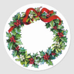 Christmas Wreath of Holly and MIstletoe Classic Round Sticker