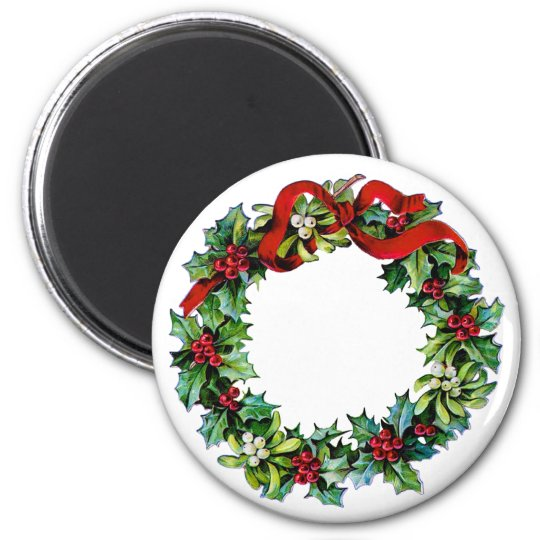Christmas Wreath of Holly and MIstletoe Magnet