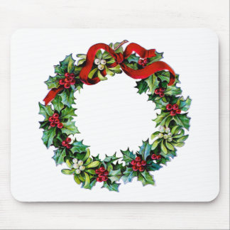 Christmas Wreath of Holly and MIstletoe Mouse Pad