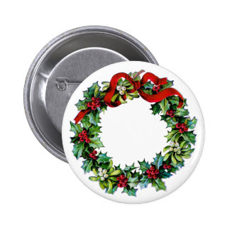 Christmas Wreath of Holly and MIstletoe Pinback Button