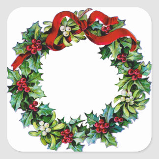 Christmas Wreath of Holly and MIstletoe Square Sticker