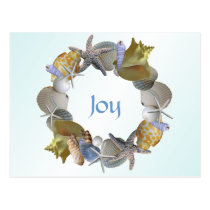 Christmas Wreath of Seashells Custom Greeting Card