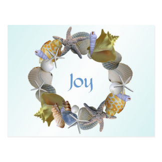 Christmas Wreath of Seashells Custom Greeting Card