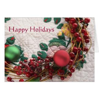 Christmas wreath on a quilt card