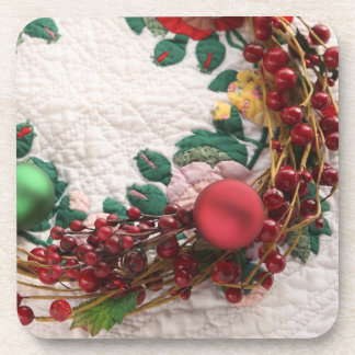 Christmas wreath on a quilt cork coasters