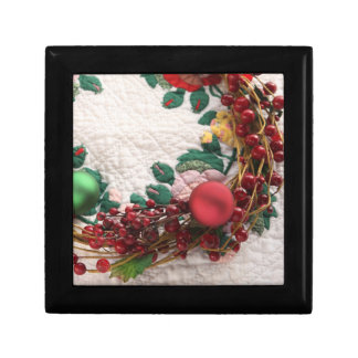 Christmas wreath on a quilt gift box