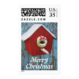 Christmas wreath on birdhouse postage