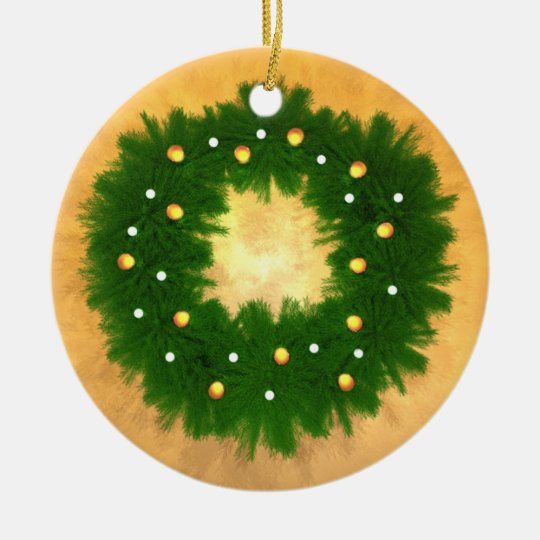 Christmas Wreath on Gold Ceramic Ornament