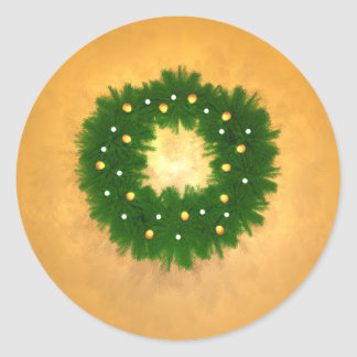 Christmas Wreath on Gold Classic Round Sticker