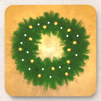 Christmas Wreath on Gold Drink Coaster