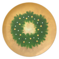 Christmas Wreath on Gold Party Plate