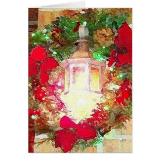 Christmas Wreath on Lamp Light Brick Background Card