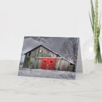 Christmas wreath on old barn with red door card