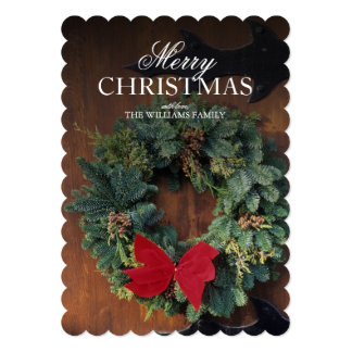 Christmas wreath on wood door card