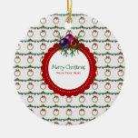 Christmas Wreath Pattern With Holly Custom Ceramic Ornament