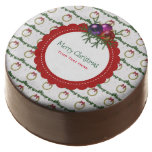 Christmas Wreath Pattern With Holly Custom Chocolate Dipped Oreo