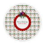 Christmas Wreath Pattern With Holly Custom Edible Frosting Rounds