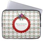 Christmas Wreath Pattern With Holly Custom Laptop Sleeve