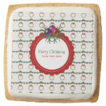Christmas Wreath Pattern With Holly Custom Square Shortbread Cookie
