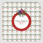 Christmas Wreath Pattern With Holly Custom Square Sticker