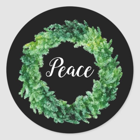 Christmas Wreath / Peace Holiday Sticker